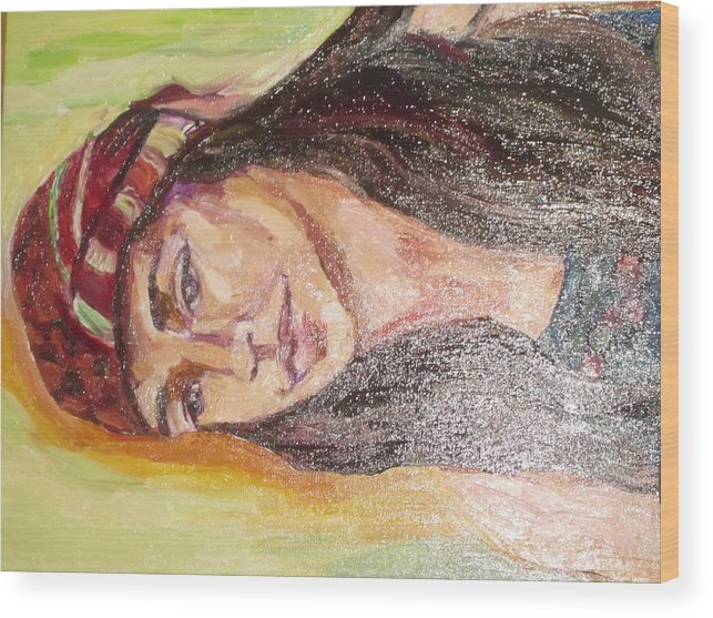 Portrait Wood Print featuring the painting Montana by Lynnrose Light