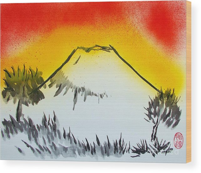 Original Wood Print featuring the painting Mount Fuji At Daybreak by Roberto Prusso