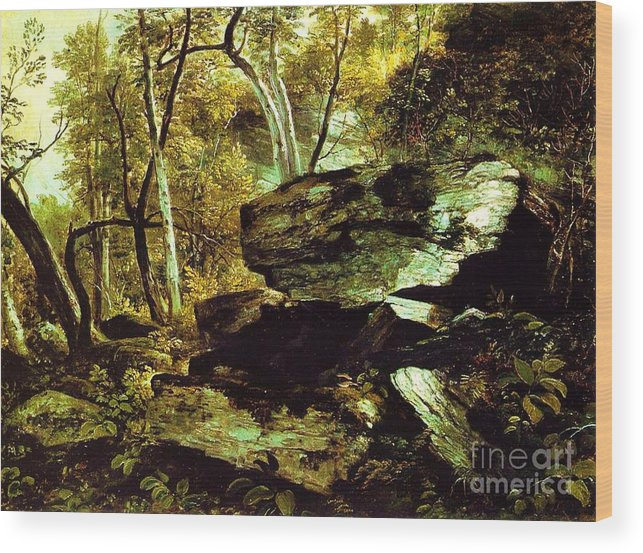 Pd Wood Print featuring the painting Nature Study Rocks And Trees by Pg Reproductions