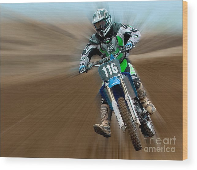 Dirt Bike Wood Print featuring the photograph Motorcross No. 116 by Jerry Fornarotto