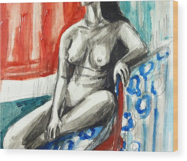 Wood Print featuring the painting Nude Study 3 by Hae Kim