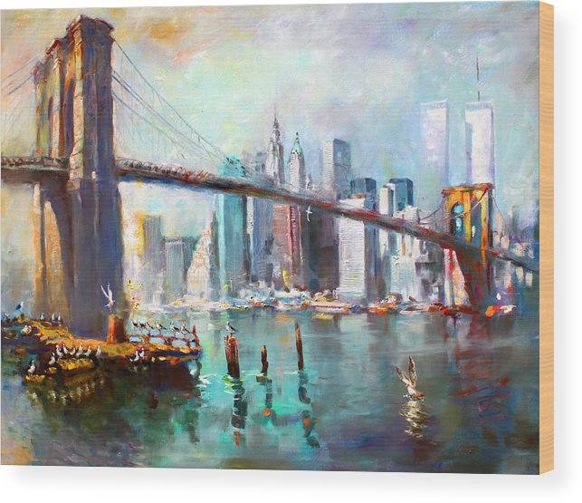 Nyc Wood Print featuring the painting Ny City Brooklyn Bridge II by Ylli Haruni