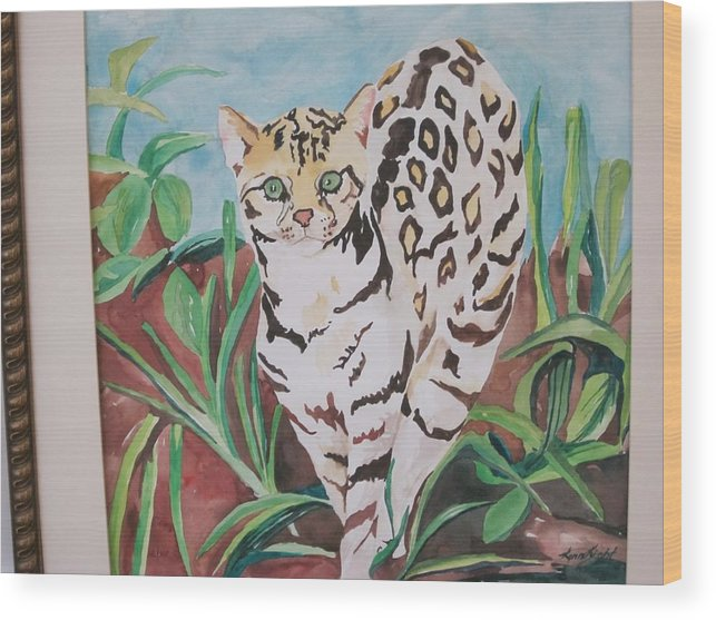 Animal Wood Print featuring the painting Ocelot by Lynnrose Light