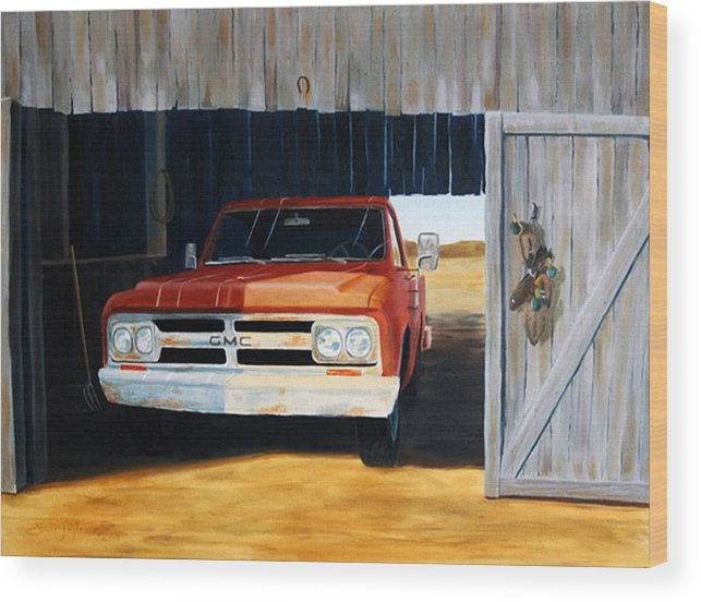 Trucks Wood Print featuring the painting Old Trucks And Decoys by Scott Alcorn