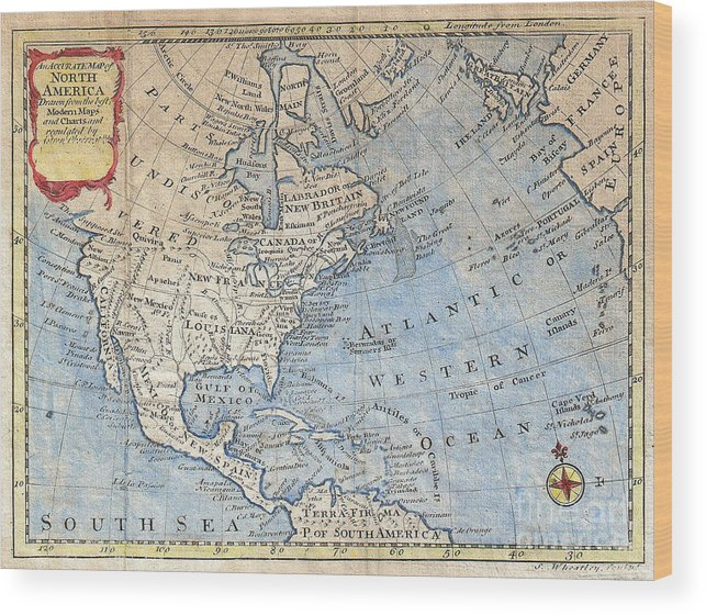 Old world map of north america wood print by inspired nature old world wood print featuring the photograph old world map of north america by inspired nature gumiabroncs Gallery