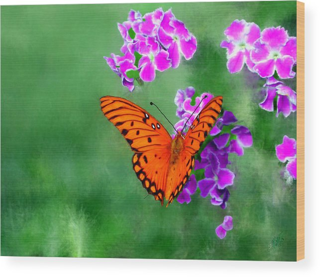 Orange Wood Print featuring the painting Orange Monarch Butterfly by Bruce Nutting