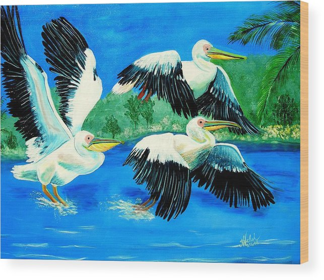 Pelican Wood Print featuring the painting Pelican Trio by Kathern Welsh