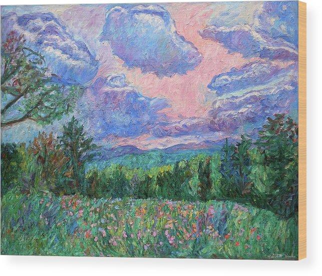 Kendall Kessler Wood Print featuring the painting Pink Light by Kendall Kessler