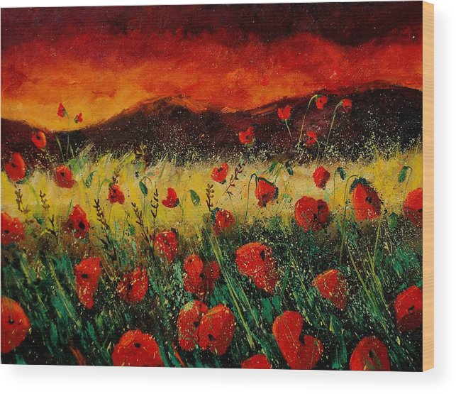 Poppies Wood Print featuring the painting Poppies 68 by Pol Ledent