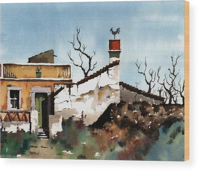 Val Byrne Wood Print featuring the painting Portugal Abandoned Nr Loule by Val Byrne