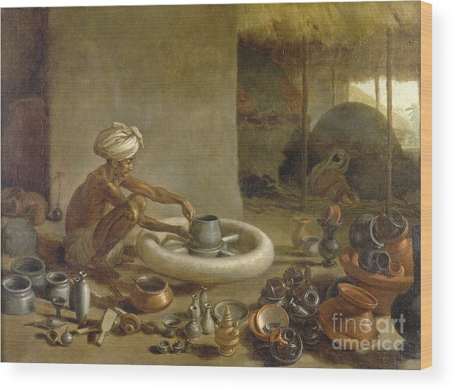 Human Wood Print featuring the photograph Potter In India, 1790s by British Library