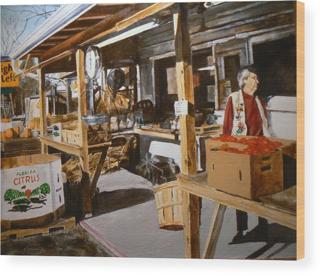 Rural Life Wood Print featuring the painting Produce Market by Thomas Akers