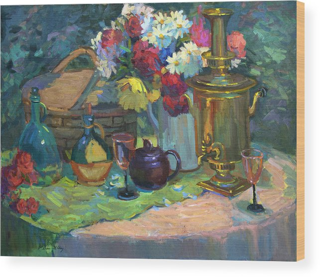 Russian Picnic Wood Print featuring the painting Russian Picnic Still Life by Diane McClary