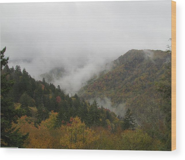 Mountains Wood Print featuring the photograph Smoke On The Mountains by Teresa Hughes