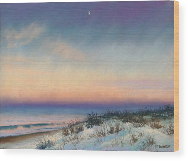 Snow Wood Print featuring the pastel Snow At Bay Head by Joan Swanson