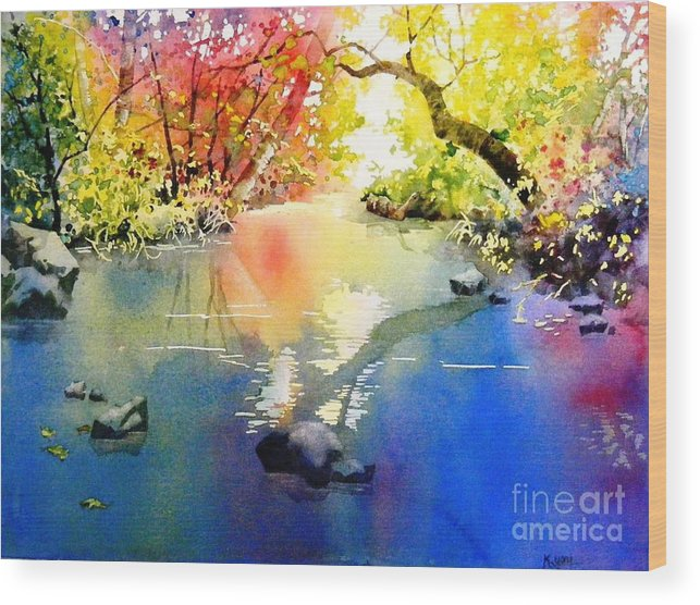 Landscape Wood Print featuring the painting Sound Of Calmness by Celine K Yong