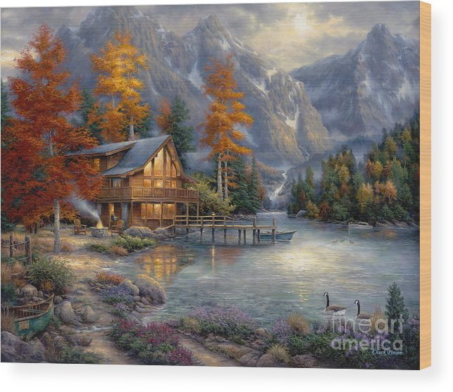 Mountain Cabin Wood Print featuring the painting Space For Reflection by Chuck Pinson