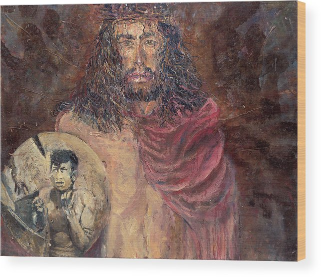 Jesus Wood Print featuring the painting Station I Jesus Is Condemned To Death by Patricia Trudeau