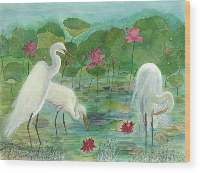 Lily Pads; Egrets; Low Country Wood Print featuring the painting Summer Trilogy by Ben Kiger