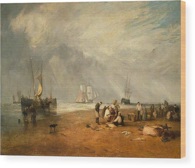 1810 Wood Print featuring the painting The Fish Market At Hastings Beach by JMW Turner
