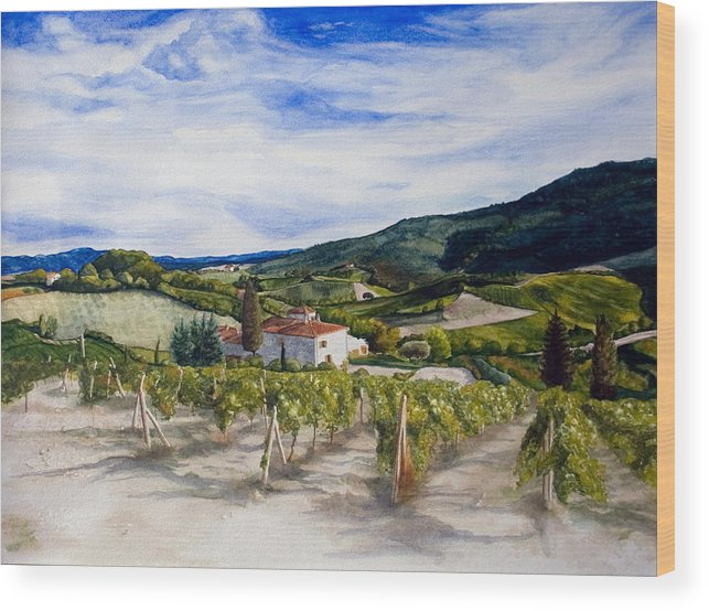 Landscape Wood Print featuring the painting The Hills Of Tuscany by Monika Degan