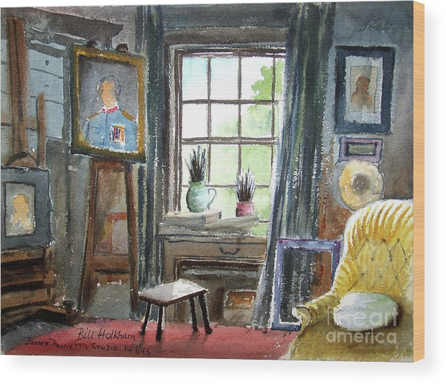 Bill Holkham Wood Print featuring the painting The Studio Of Juliet Pannett by Bill Holkham