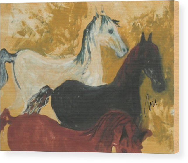 Horse Wood Print featuring the mixed media The Trio by Cori Solomon