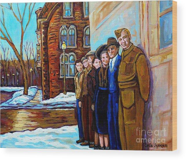Canadian Art Wood Print featuring the painting The War Years 1942 Montreal St Mathieu And De Maisonneuve Street Scene Canadian Art Carole Spandau by Carole Spandau