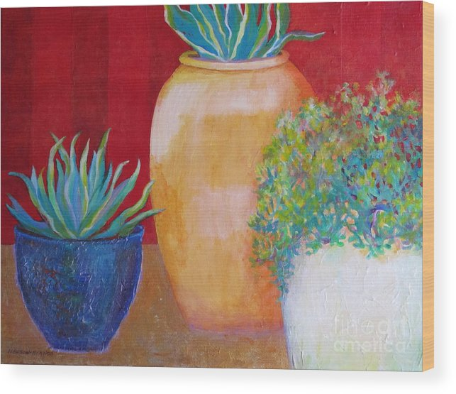 Contemporary Still Life Wood Print featuring the painting Three Bright Pots by Sharon Nelson-Bianco