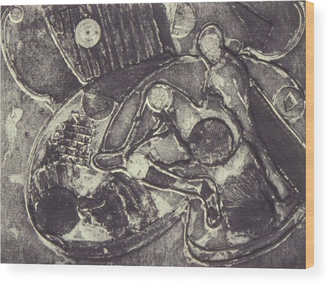 Johnpowellpaintings Wood Print featuring the mixed media Trapped In Time Intaglio by John Powell