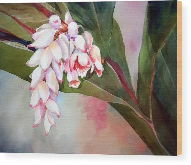 Flower Wood Print featuring the painting Tropical Splendor by Sue Kemp
