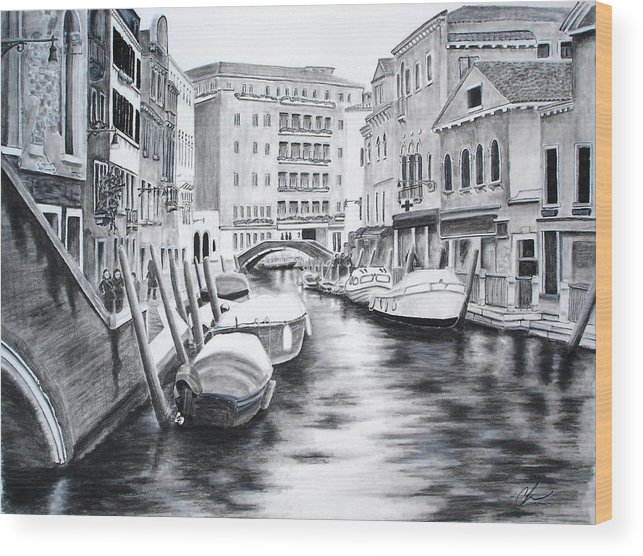 Venice Wood Print featuring the drawing Venice City Of Love by Chris Fraser