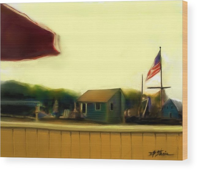 Fineartamerica.com Wood Print featuring the painting View From The Deck by Diane Strain