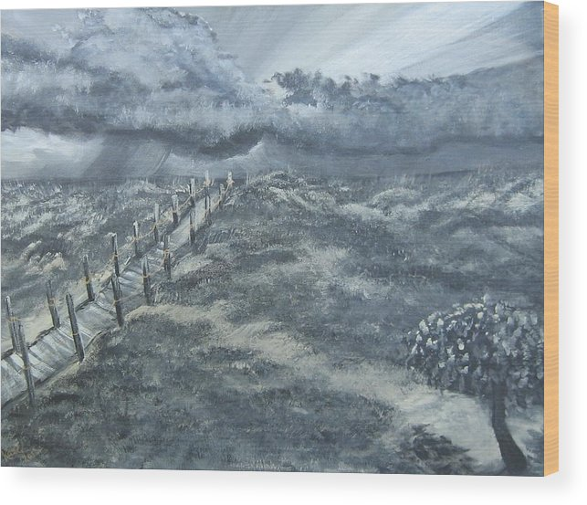 Storm Rolling Up While The Normal Things Like The Tree Wood Print featuring the painting Waiting Out The Storm by Katie Adkins