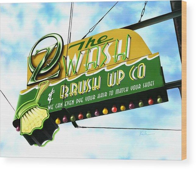 Wash & Brush Up Co Wood Print featuring the digital art Wash And Brush Up Co. by Karen Kutoloski
