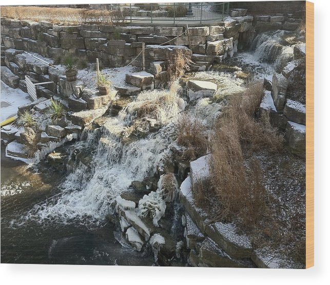 Landscape Wood Print featuring the digital art Waterfall by Anthony Padilla