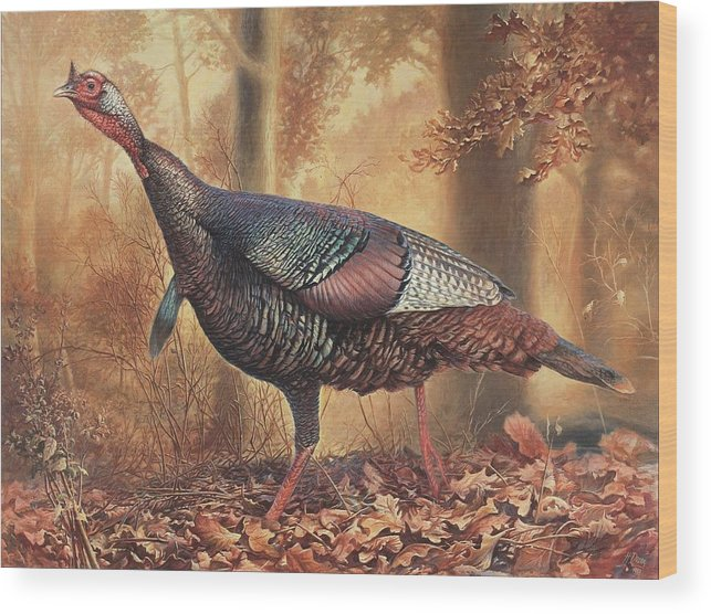 Wild Turkey Wood Print featuring the painting Wild Turkey by Hans Droog