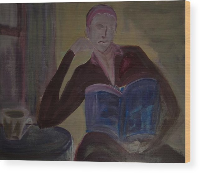 Woman Wood Print featuring the painting Woman With Coffee by Rashne Baetz