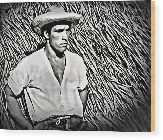 Masculine Wood Print featuring the digital art Young Man With Straw Hat by Joan Reese