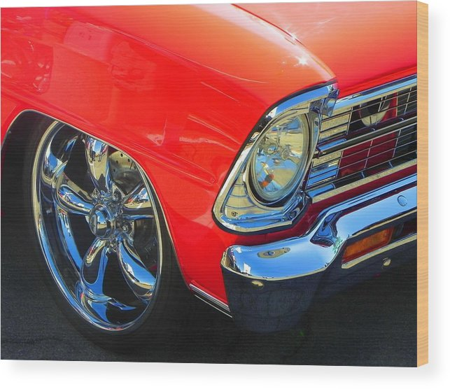 Chevy Nova Wood Print featuring the photograph Real Red Nova Ss by Chuck Re