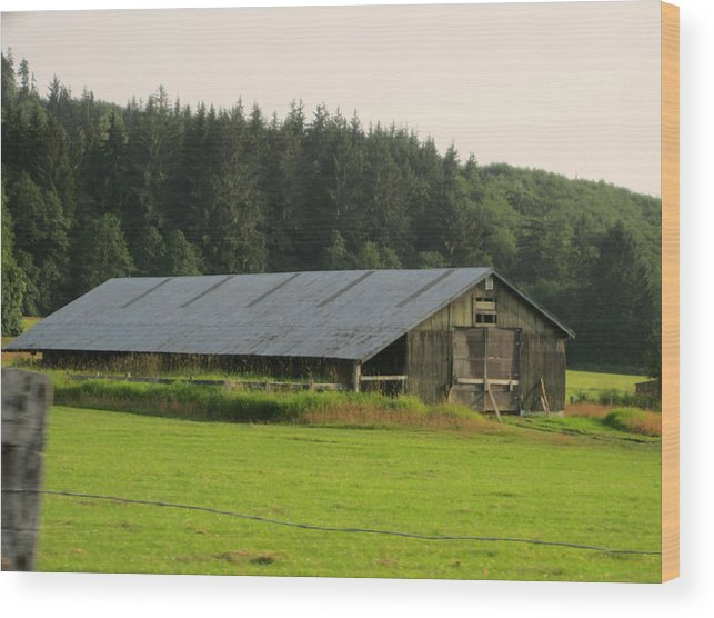 Nice Barn Wood Print featuring the photograph Barn And Barbwire by Kym Backland
