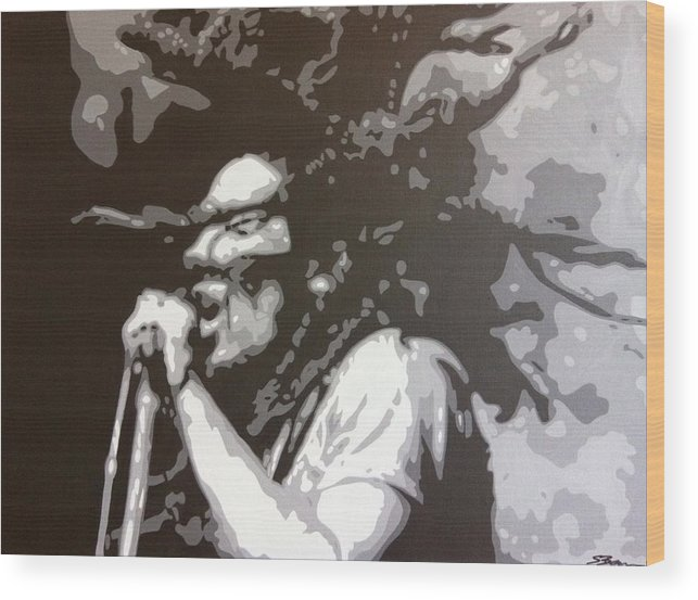 Bob Marley Wood Print featuring the painting Bob Marley - Skankin' by Siobhan Bevans