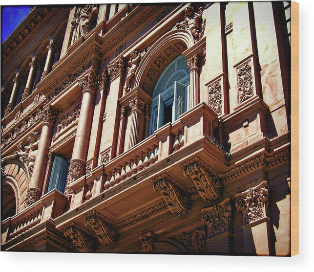 Architecture Wood Print featuring the photograph Casa Rosada by Joan Minchak