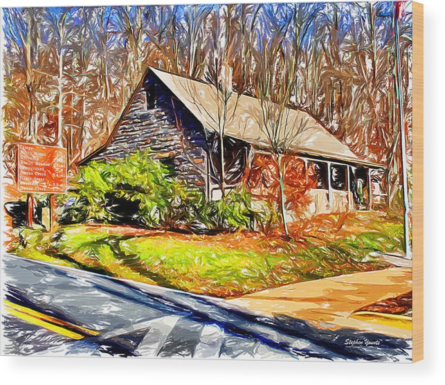Catoctin Mountain Park Wood Print featuring the digital art Catoctin Visitor Center by Stephen Younts