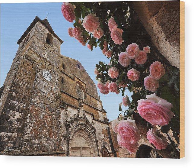 France Wood Print featuring the photograph Church And Roses by Joe Bonita