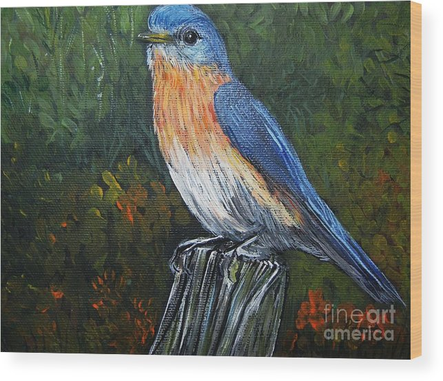 Blue Birds Wood Print featuring the painting Little Blue Bird by Reb Frost