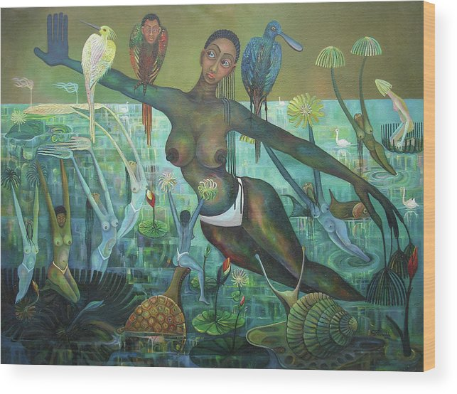 Imaginative Wood Print featuring the painting Reflections Of Nature by Godfrey Banadda