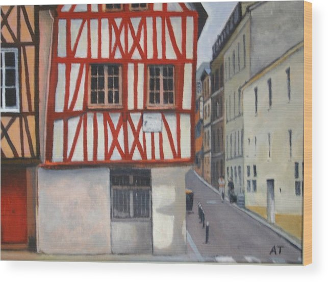 Streetscape Wood Print featuring the painting Rouen Street Corner by Alan Thomas