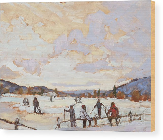 Kids Wood Print featuring the painting Ski Day by Chula Beauregard