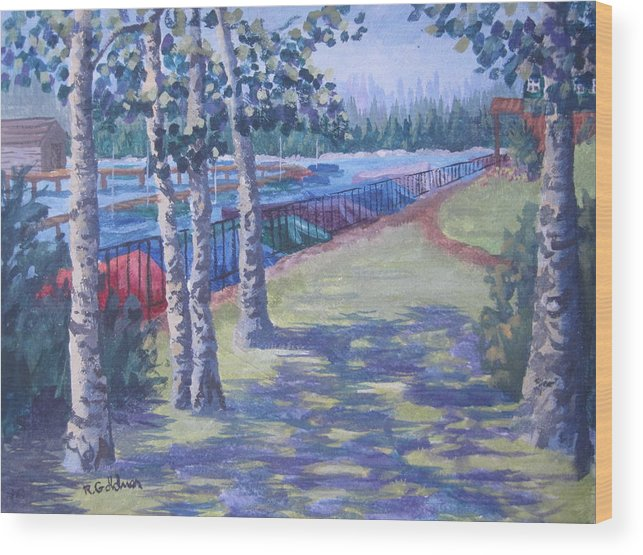 Landscape Wood Print featuring the painting Tahoe City Boat Marina by Rita Goldner